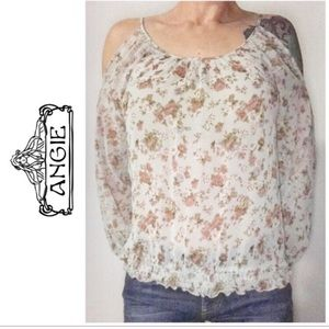 Angie Blue Pink Floral Cold Shoulder Top Small S